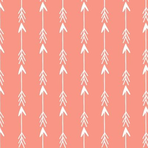 coral arrows fabric // nursery baby coral and white nursery design