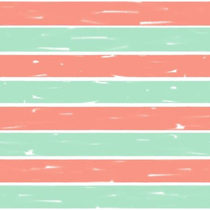coral and mint stripes // stripe fabric stripes design coral and mint decor