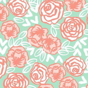 roses fabric // coral and mint nursery fabric roses florals design sweet flowers