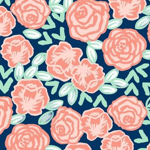 roses // coral and mint rose fabric nursery baby design sweet rose flowers