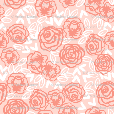 roses fabric // floral coral and blush flowers fabric baby nursery girls sweet flowers