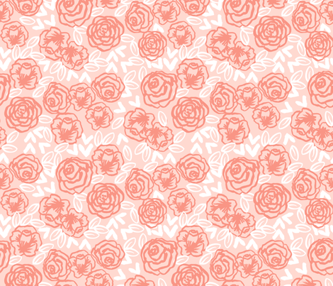 Roses fabric floral coral and blush flowers fabric baby for Floral nursery fabric
