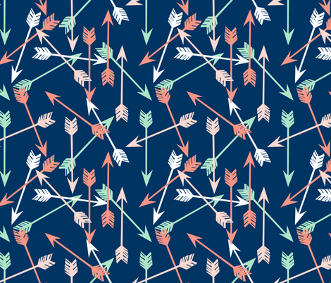 arrows fabric // scattered arrow fabric nursery baby coral and mint nursery fabric fabric by andrea_lauren on Spoonflower - custom fabric