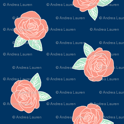 rose fabric // coral and mint flowers fabric nursery baby design