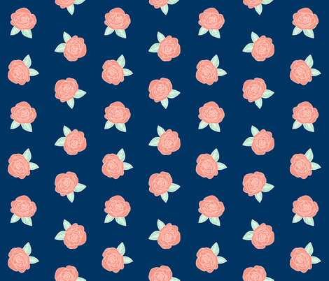rose fabric // coral and mint flowers fabric nursery baby design fabric by andrea_lauren on Spoonflower - custom fabric