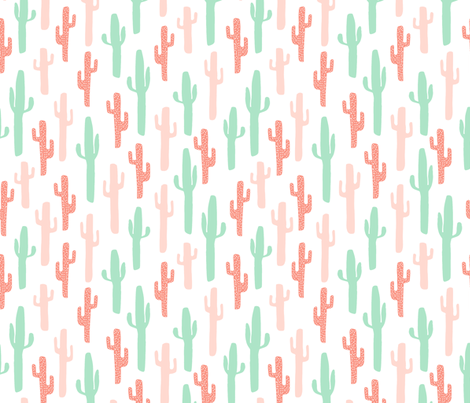 cactus fabric // coral and mint girls fabric nursery baby design fabric by andrea_lauren on Spoonflower - custom fabric