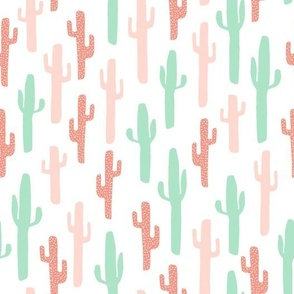 cactus fabric // coral and mint girls fabric nursery baby design