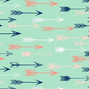arrows fabric // coral and mint nursery baby girls fabric - mint