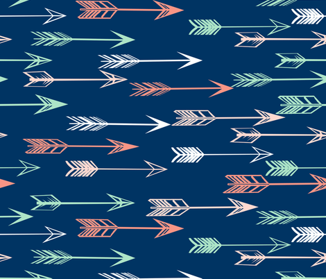 arrows fabric // coral and mint nursery baby girls fabric - navy fabric by andrea_lauren on Spoonflower - custom fabric