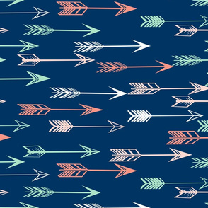 arrows fabric // coral and mint nursery baby girls fabric - navy
