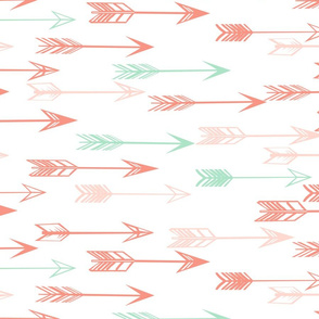 arrows fabric // coral and mint nursery baby girls fabric - white