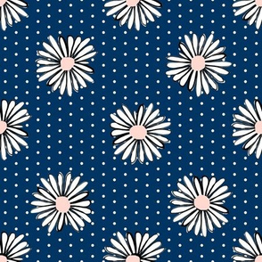 daisies fabric // navy daisy florals fabric flowers design