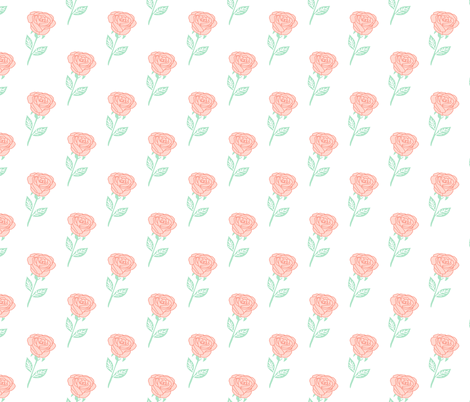 rose fabric // coral roses fabric florals baby nursery fabric - white fabric by andrea_lauren on Spoonflower - custom fabric