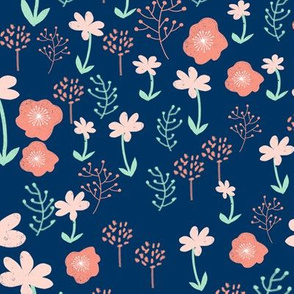 floral fabric // coral and mint baby nursery design sweet girls baby florals