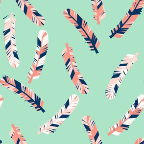 feathers fabric // girls coral mint and navy fabric baby nursery design by andrea lauren