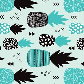 Awesome blue pineapple vintage summer fruit design in blue black and white flipped