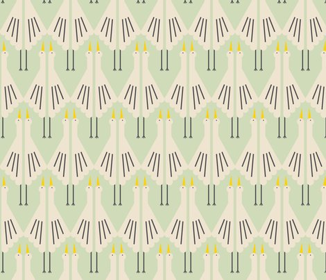 crane deco mint fabric lemonni spoonflower. Black Bedroom Furniture Sets. Home Design Ideas