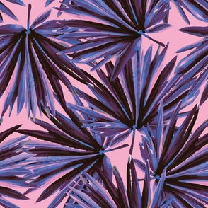 Tropical Palm Leaves in Electric Pink + Sea Blue