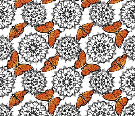 Butterflies and mandalas 1 fabric by elena_naylor on Spoonflower - custom fabric