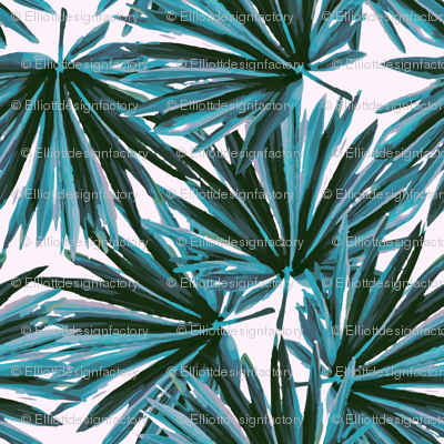 Tropical Palm Leaves in Botanical Green + Shell