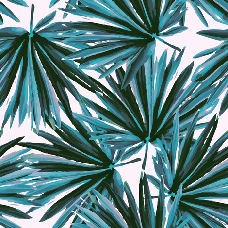 Tropical Palm Leaves in Botanical Green + Shell fabric by elliottdesignfactory on Spoonflower - custom fabric