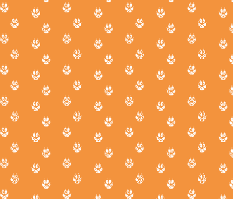 orange fox paw print fabric by mrshervi on Spoonflower - custom fabric