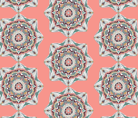 Coral Mandala fabric by designsidestudio on Spoonflower - custom fabric