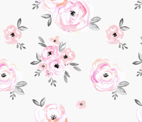 BlushRoses Bouquet fabric by crystal_walen on Spoonflower - custom fabric