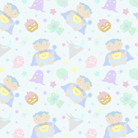 Baby Drac Repeat in Pastel Goth Rainbow fabric by elliottdesignfactory on Spoonflower - custom fabric