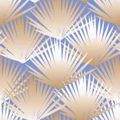 Tropical Fern Repeat in Peach Shell + Blue Sea