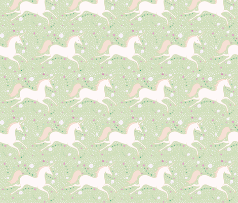 Dancing Unicorn in Spring Green fabric by caitieillustrates on Spoonflower - custom fabric