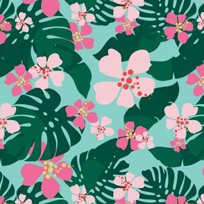 Hawaiian Tropical Palm Leaves + Hibiscus Floral