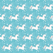 SMALL Dancing Unicorn in Seafoam