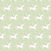 SMALL  Dancing Unicorn in Spring Green
