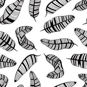 Postmodern Banana Leaves in Black + White