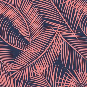 Tropical Palm Leaf Toss in Coral + Navy
