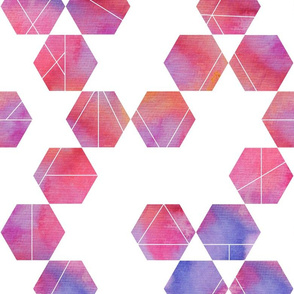 Purple pink watercolour hexagons