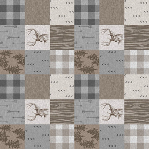 "3""  Rustic Buck Wholecloth Quilt - Soft Brown And grey - ROTATED"