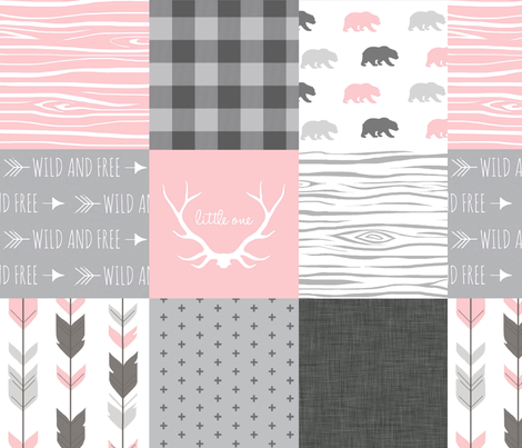 Wholecloth Quilt  - Bears in Pink and Grey - Baby Girl Woodland fabric by sugarpinedesign on Spoonflower - custom fabric