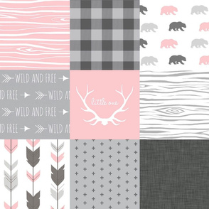 Wholecloth Quilt  - Bears in Pink and Grey - Baby Girl Woodland