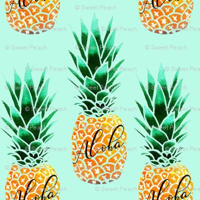 Aloha Pineapple Fabric Sweet Peach Spoonflower