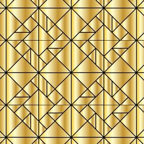 Gold with Black Outlines Tangram and Art Deco Inspired Design