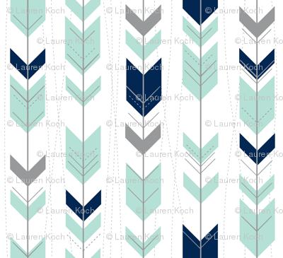 tribal arrows // mint indigo grey