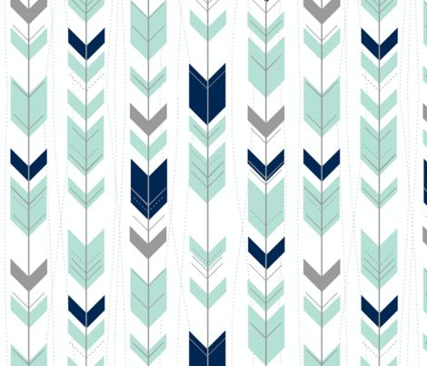 tribal arrows // mint indigo grey fabric by buckwoodsdesignco on Spoonflower - custom fabric