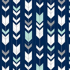 tribal arrows // mint and grey on indigo