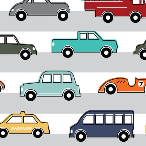 Beep Beep! Colorful Cars - Large fabric by sugarfresh on Spoonflower - custom fabric