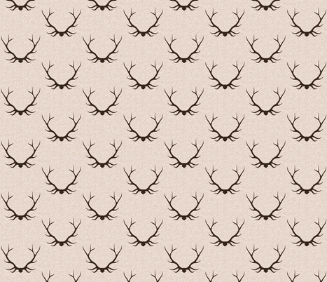 Antlers - Large - Dark Brown on Vanilla Linen fabric by sugarpinedesign on Spoonflower - custom fabric