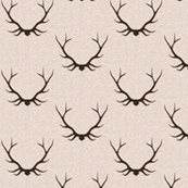 Antlers - Large - Dark Brown on Vanilla Linen