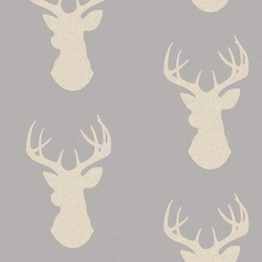 Deer - tan linen texture on grey - Rustic Woodlands - buck head