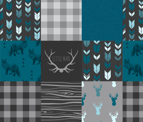 Wholecloth Quilt - Fox and Deer in teal, gray, and black with plaid and arrows fabric by sugarpinedesign on Spoonflower - custom fabric